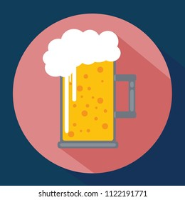 Beer flat icon with long shadow