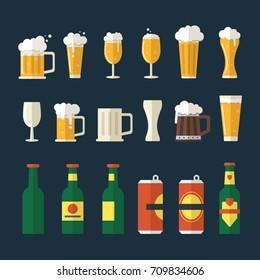 Beer flat icons set. Includes bottles, mugs, beer glasses