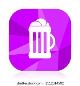 Beer flat vector icon. Mug violet web button. Bar internet square sign. Drink modern design symbol in eps 10.
