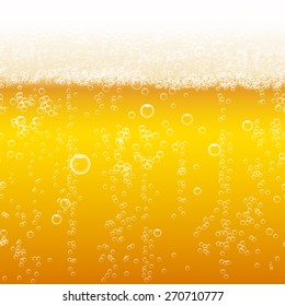 Beer foam background, horizontal seamless beer pattern. Light bright, bubble and liquid, vector illustration