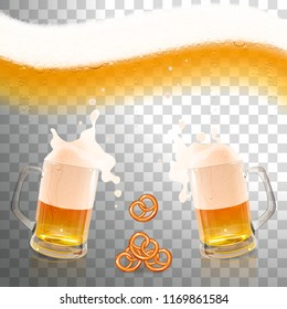 beer with foam and snack on a transparent background