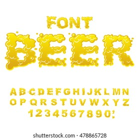 Beer font. Yellow liquid ABC. Flowable typography. Alcoholic alphabet. drink letters