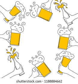 Beer frame with hands clinking beer mug, glass and bottle with spilled foam on a birthday party. Fest cheers celebration. Design border. Vector isolated illustration.