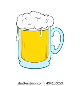 Beer frosty mug icon. Cartoon illustration of beer frosty mug vector icon logo isolated on white background