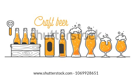 Beer glass bottle and