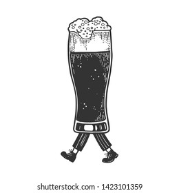 Beer glass cup walks on its feet sketch engraving vector illustration. Scratch board style imitation. Black and white hand drawn image.