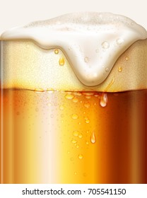 Beer in a glass with foam and bubbles. Realistic brewery background. Vector illustration.