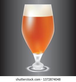 Beer glass, light amber-colored beer. Vector illustration.