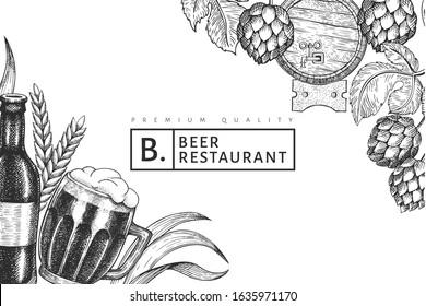 Beer glass mug and hop design template. Hand drawn vector pub beverage illustration. Engraved style. Retro brewery illustration.