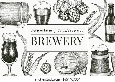 Beer glass mug and hop design template. Hand drawn vector pub beverage illustration. Engraved style. Vintage brewery illustration.