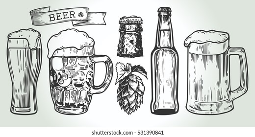 Beer glass, mug, ribbon, bottle, and hop. Vintage vector engraving illustration for web, poster, invitation to party. Hand drawn design element isolated on white background.