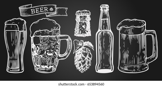 Beer glass, mug, ribbon, bottle, and hop. Vintage vector engraving illustration for web, poster, invitation to party. Hand drawn design element  isolated on black background.