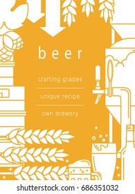 Beer, glass, mug, tap, bottle, kegs, equipment for brewing, brewery, malt, hops. Vector background for booklet, brochure, flyer.