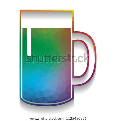 Beer Glass Sign. Vector. Colorful Icon With Bright Texture Of Mosaic With  Soft Shadow