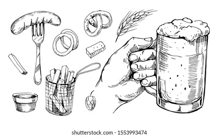 Beer glass and snacks. Hand drawn sketch converted to vector. Isolated on white background