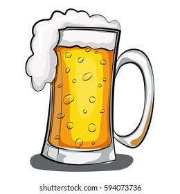 Beer glass vector cartoon illustration isolated on white background.