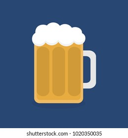 Beer in glass vector graphic illustration, flat icon, isolated on dark blue background. Half-litre or pint of alcoholic beverage, beer with beer head, foam in glass.