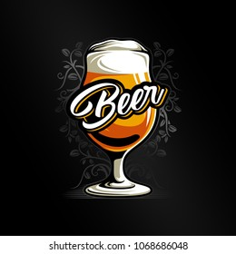 Beer glass vector illustration on dark background