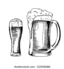 Beer glass. Vector vintage engraved illustration isolated on white background.Ink hand drawn style
