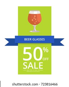 Beer glasses 50% off sale, including icon of pint of stout with bubbles and text sample vector illustration isolated on white background.