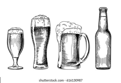 Beer glasses and bottle. Vector vintage illustration isolated on white background. Ink hand drawn style