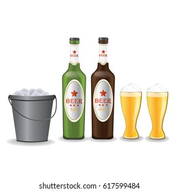 beer glasses, beer bottles, Ice bucket, vector illustration