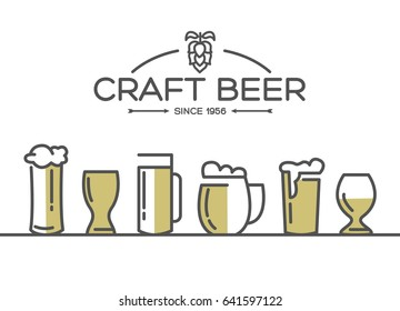 Beer glasses set collection with different kinds of glasses pulled light beers and malts hand drawing on the white background vector illustration