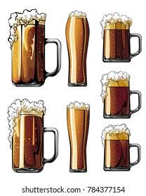 Beer glasses set of illustrations