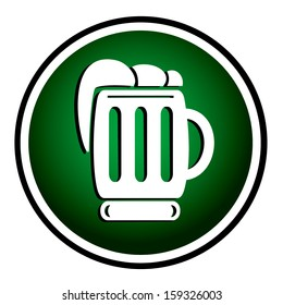 Beer green round icon
