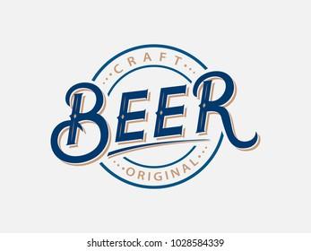 Beer hand written lettering logo, label. Vintage typography style. Vector illustration.