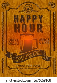 Beer Happy hour flyer design on WOODEN. It can be useful whether it is a specific show, club event, or special attraction.