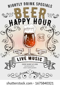 Beer happy hour vintage invitation poster - vintage poster with retro floral ornament, beer glass on white background. Design template with sample text for promoting your vintage events.