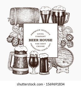 Beer and hop design template. Hand drawn vector brewery illustration. Engraved style. Vintage brewing illustration.