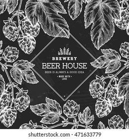Beer hop frame . Engraved style illustration. Vintage beer design template. Vector illustration