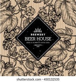 Beer hop illustration. Engraved style illustration. Vintage beer design template. Vector illustration