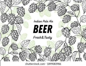 Beer hop illustration. Hand drawn sketch design. Beer ingredients vector illustration.