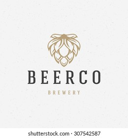 Beer hop logo or badge design element vector illustration