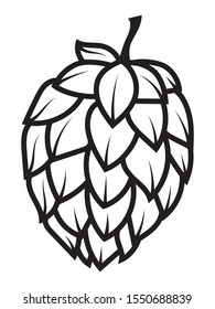 Beer hops for brewing. Elements  for  Octoberfest  or  festival. Black and white vector illustration for a beer store. Line art.