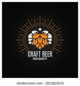beer hops logo on black background