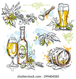 Beer and hops vector decoration isolated on white - pen and ink sketch drawing set with watercolor splashes