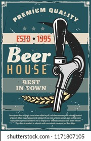 Beer house or craft brewery traditional production line retro poster. Vector vintage advertisement design of bar or pub tap with wheat for premium quality beer brewing