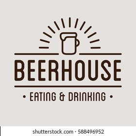 Beer house label template. Graphic design element for business: cafe, bar, pub. Vector Illustration isolated on white background.