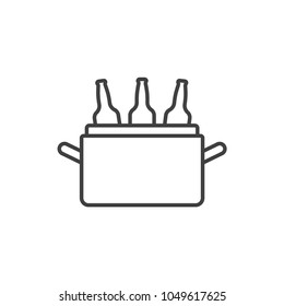 Beer ice cooler box line icon.
