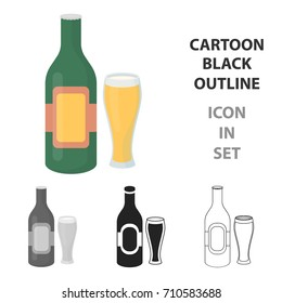 Beer icon in cartoon style isolated on white background. Alcohol symbol stock vector illustration.