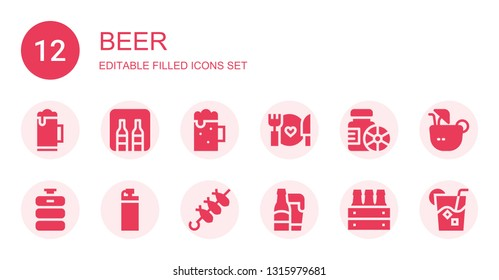 beer icon set. Collection of 12 filled beer icons included Beer, Minibar, Food, Bottles, keg, Bottle, Brochette, Coconut drink, Drink