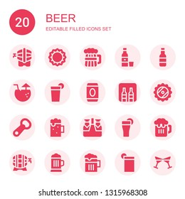 beer icon set. Collection of 20 filled beer icons included Beer, Bottle cap, Tequila, Cocktail, Beverage, Minibar, Bottle opener, Drink, Cheers