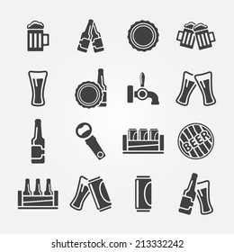 Beer icon set made of 16 beer vector symbols