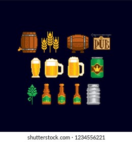 Beer icon set. Pixel art. Old school computer graphic. Element design stickers, logo, mobile app, menu. 8 bit video game. Game assets 8-bit sprite. 16-bit.