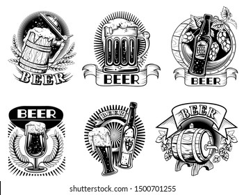 Beer icons or badges, set vector illustrations. Beer labels with bottles and mugs with foaming alcohol drink, wooden barrel, wheat ears and hop cones isolated on white background