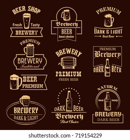 Beer icons for brewery pub or bar of beer bottles or wood barrels and ale pint mugs with frothy foam. Vector isolated symbols or prem.ium quality craft or draught beer for brewery sign templates